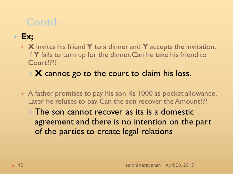 Contd - X cannot go to the court to claim his loss.