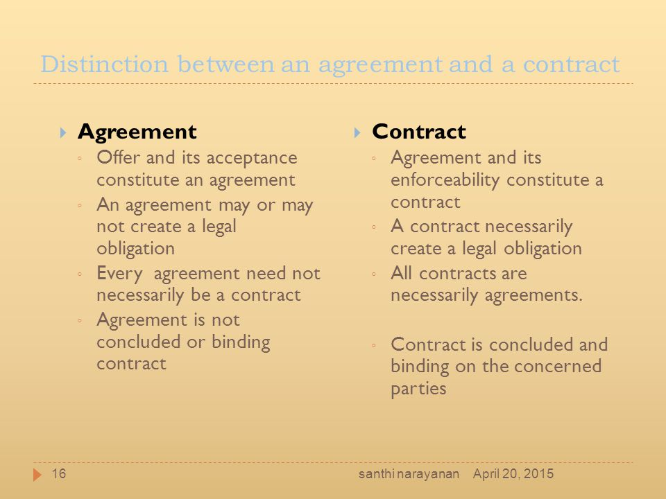Distinction between an agreement and a contract