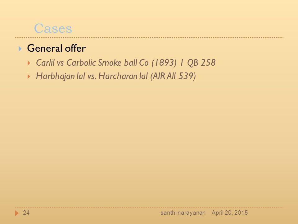 Cases General offer Carlil vs Carbolic Smoke ball Co (1893) 1 QB 258