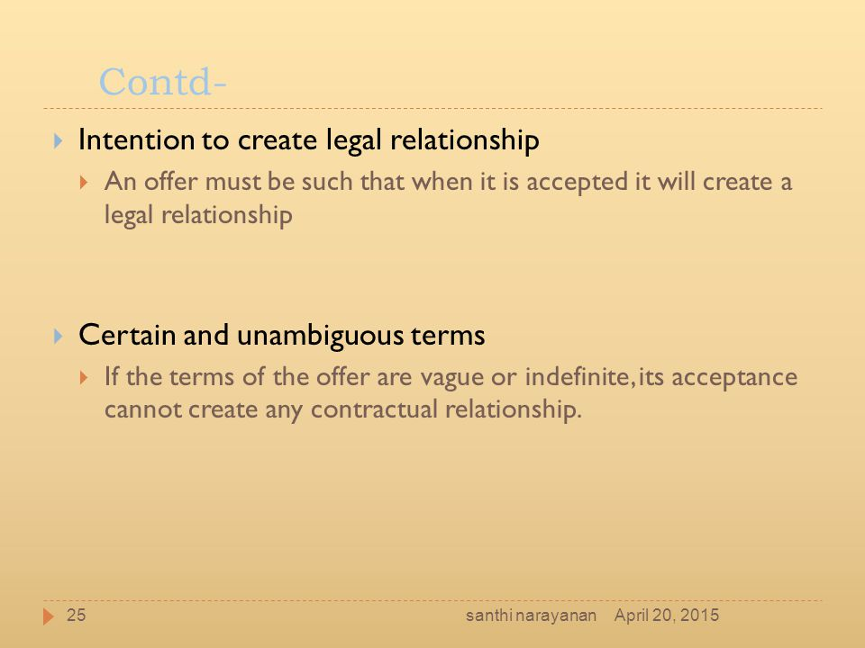 Contd- Intention to create legal relationship