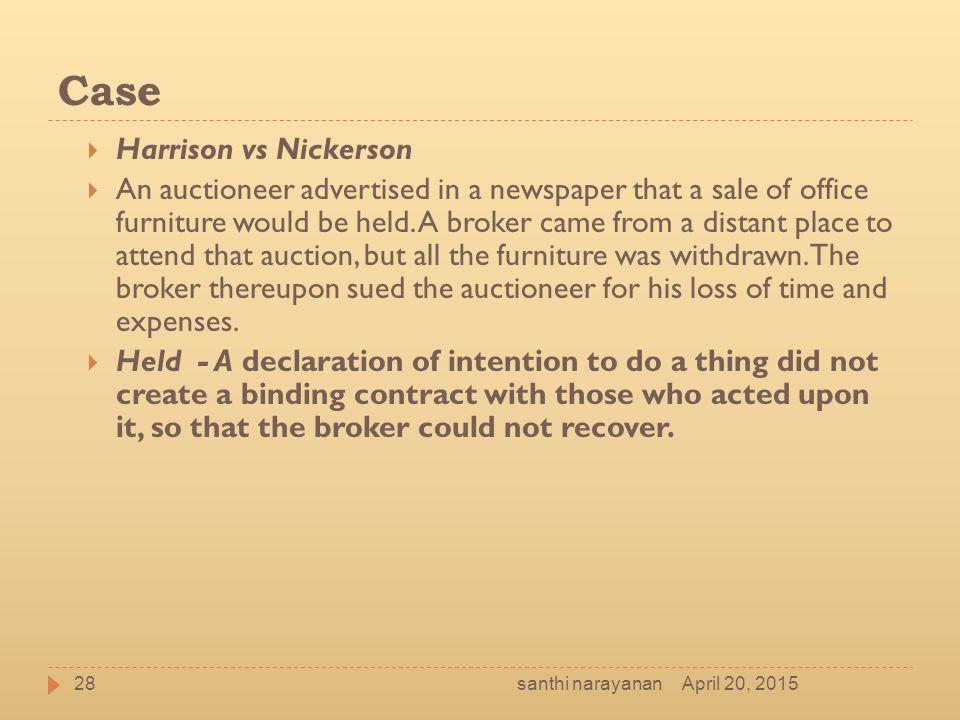 Case Harrison vs Nickerson