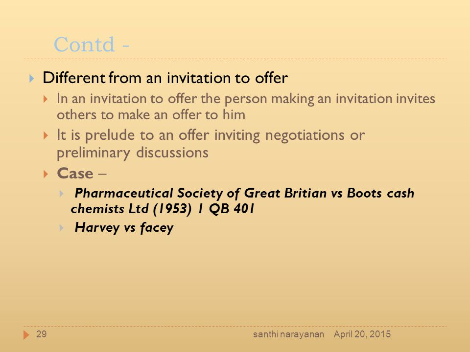 Contd - Different from an invitation to offer