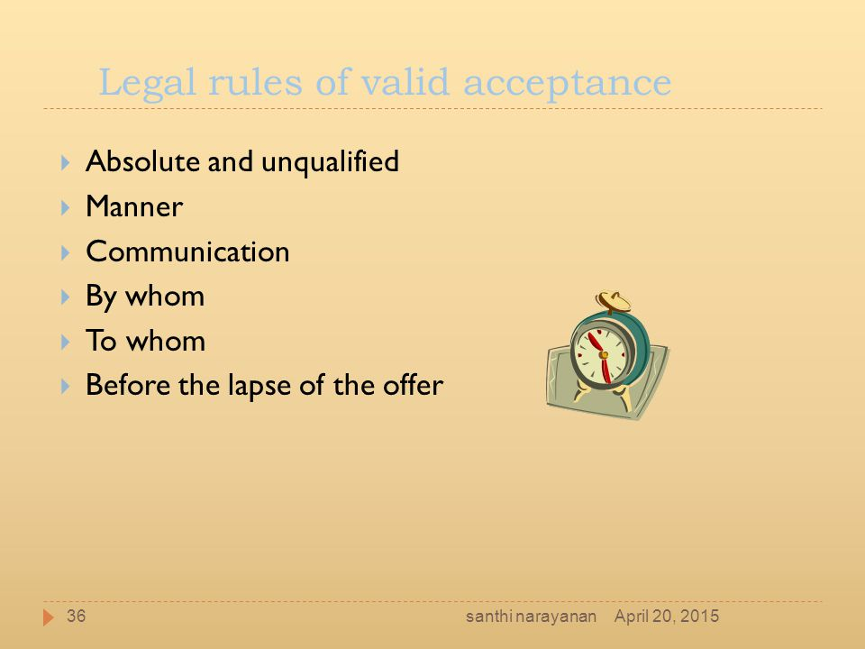 Legal rules of valid acceptance
