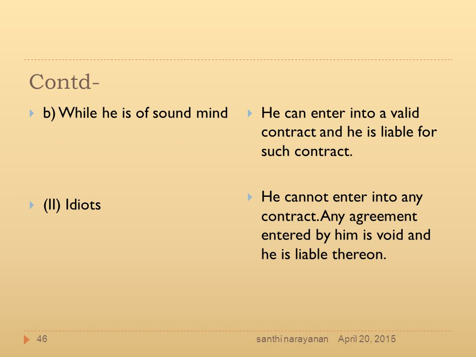 Contd- b) While he is of sound mind (II) Idiots