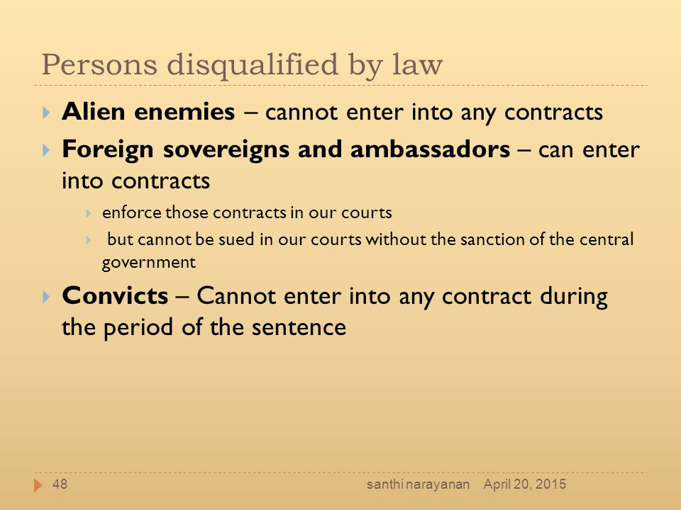 Persons disqualified by law