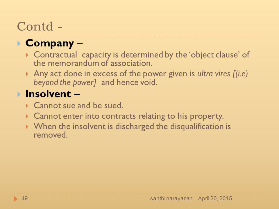 Contd - Company – Insolvent –
