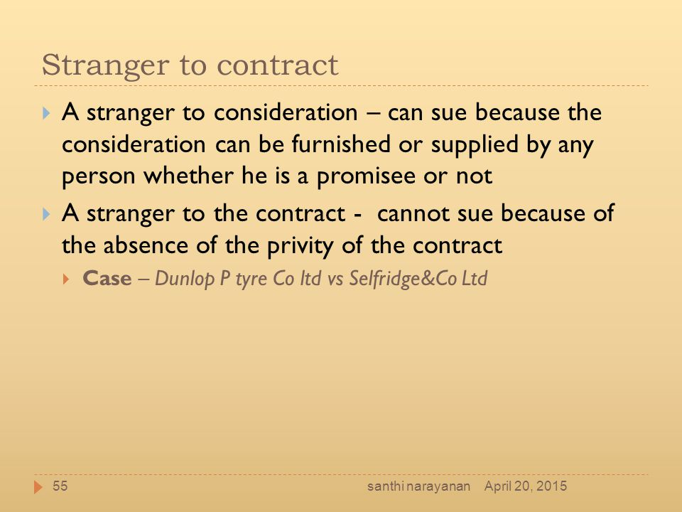 Stranger to contract