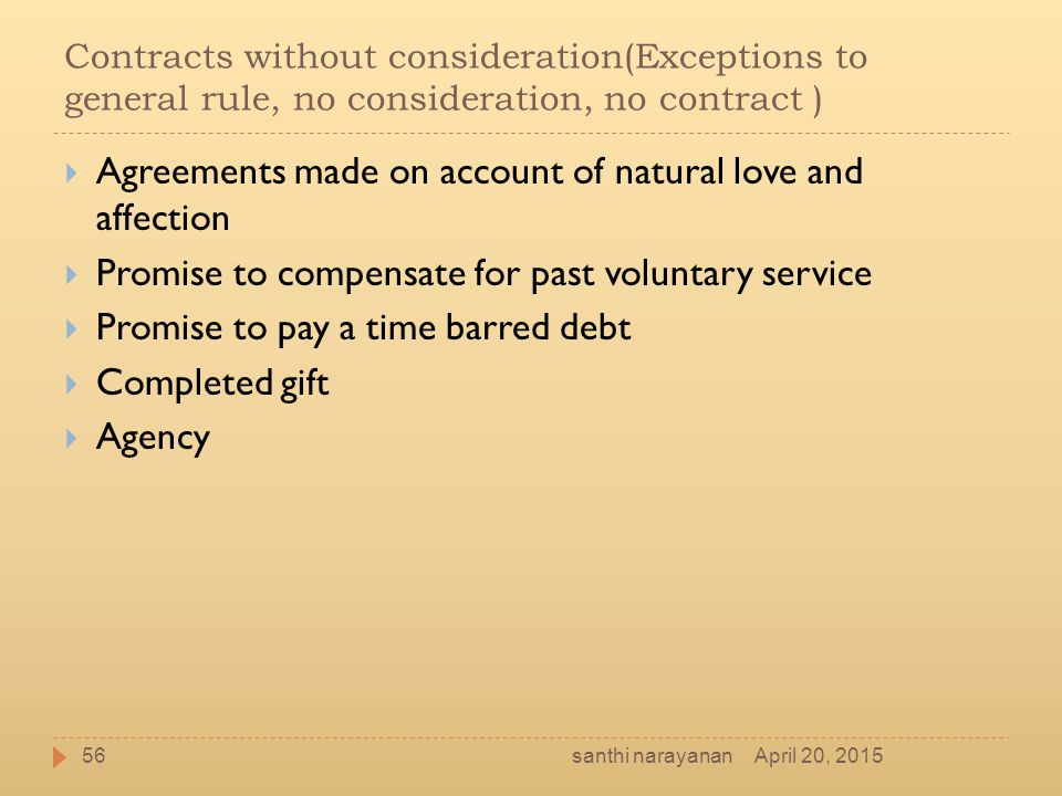 Agreements made on account of natural love and affection