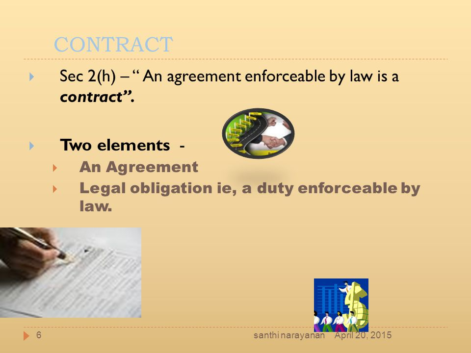CONTRACT Sec 2(h) – An agreement enforceable by law is a contract .