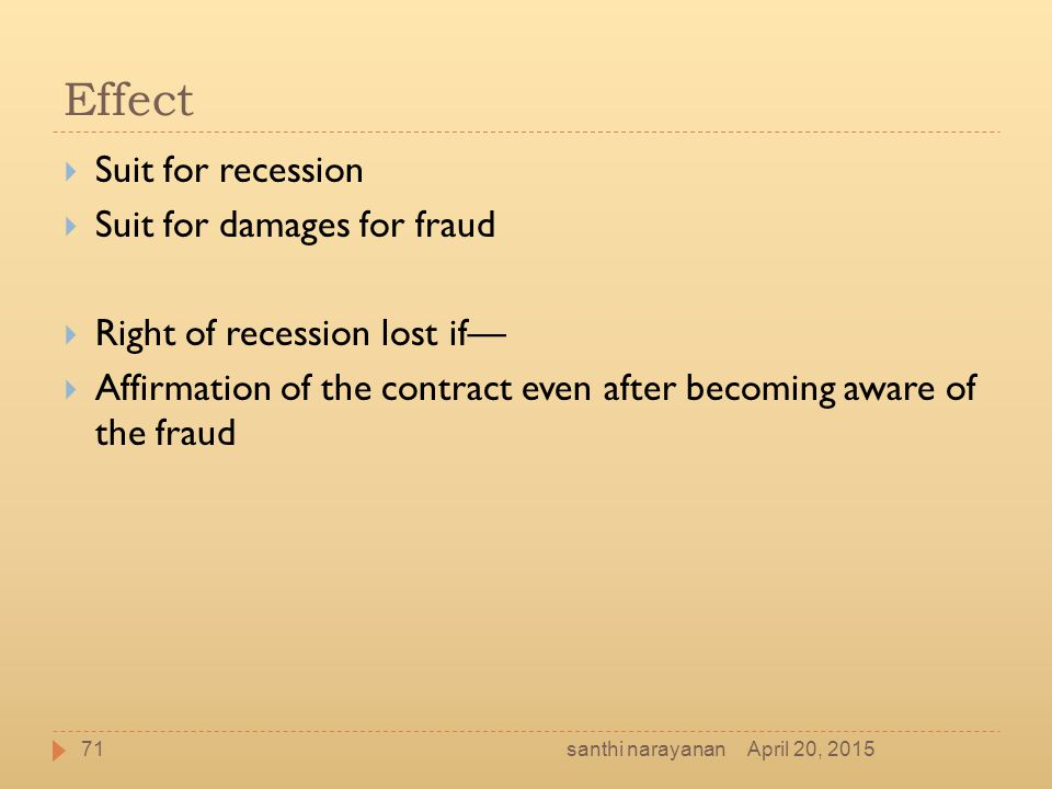 Effect Suit for recession Suit for damages for fraud