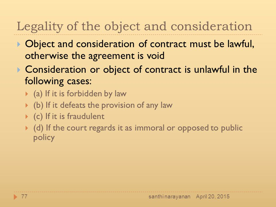Legality of the object and consideration