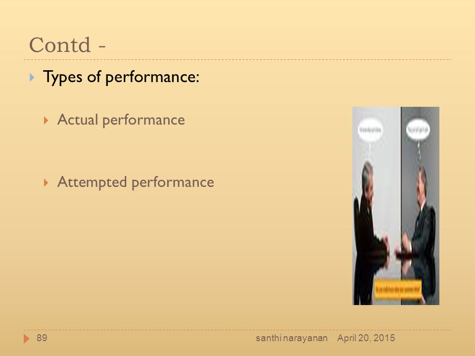 Contd - Types of performance: Actual performance Attempted performance