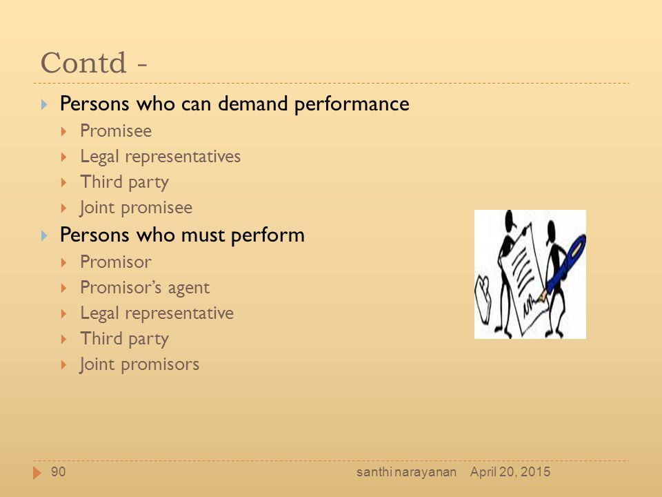 Contd - Persons who can demand performance Persons who must perform