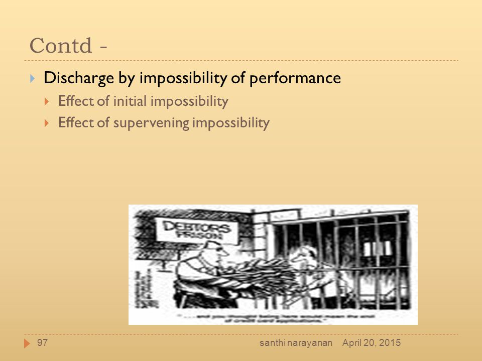 Contd - Discharge by impossibility of performance