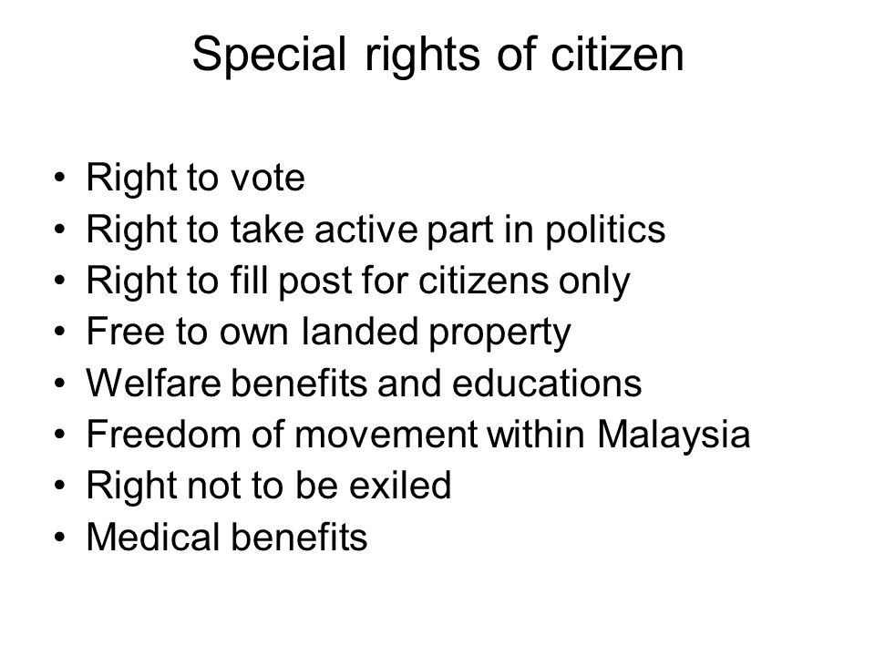 Special rights of citizen