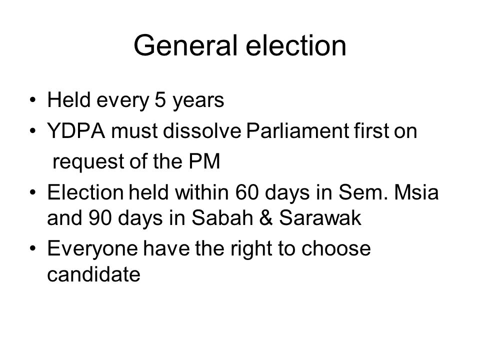 General election Held every 5 years