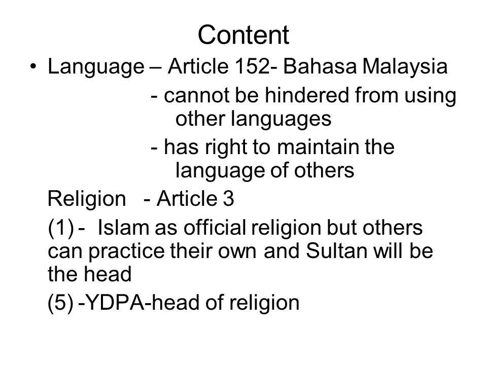 Content Language – Article 152- Bahasa Malaysia