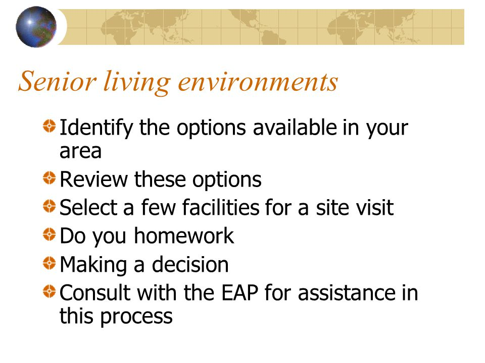 Senior living environments