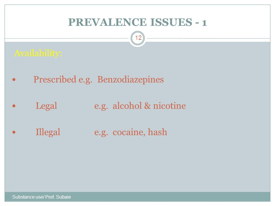 PREVALENCE ISSUES - 1 Availability: Prescribed e.g. Benzodiazepines