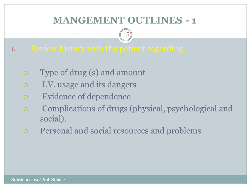 MANGEMENT OUTLINES - 1 Review history with the patient regarding: