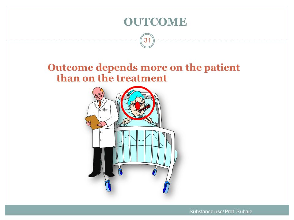 OUTCOME Outcome depends more on the patient than on the treatment