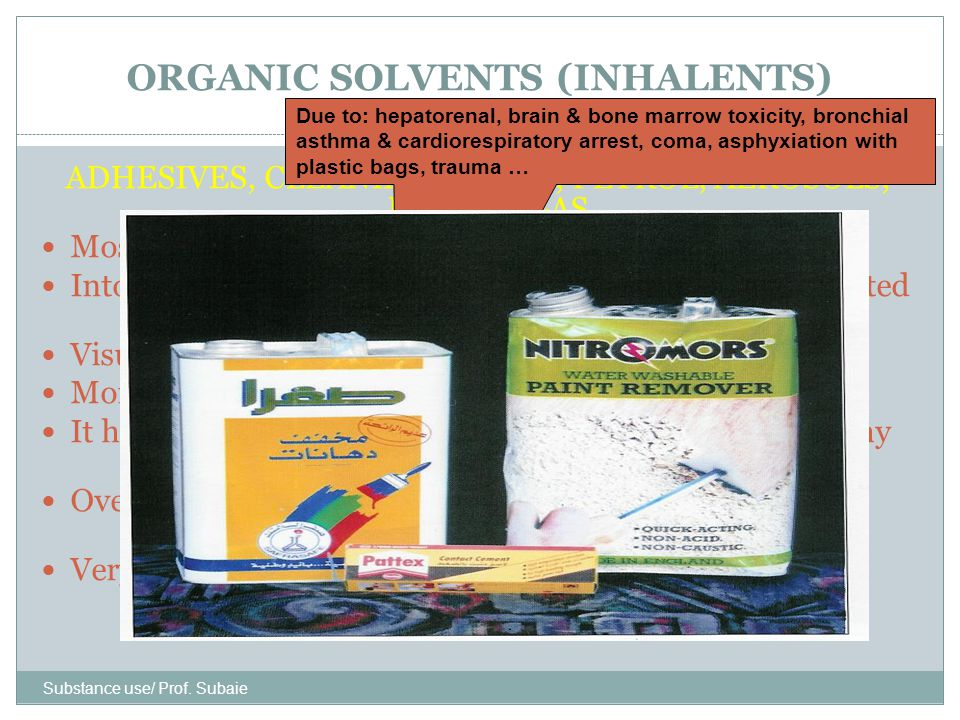 ORGANIC SOLVENTS (INHALENTS)