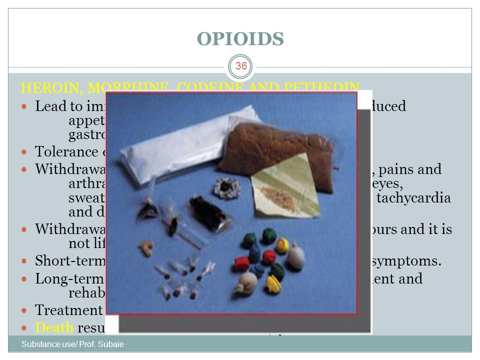 OPIOIDS HEROIN, MORPHINE, CODEINE AND PETHEDIN