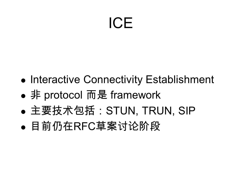 ICE Interactive Connectivity Establishment 非 protocol 而是 framework