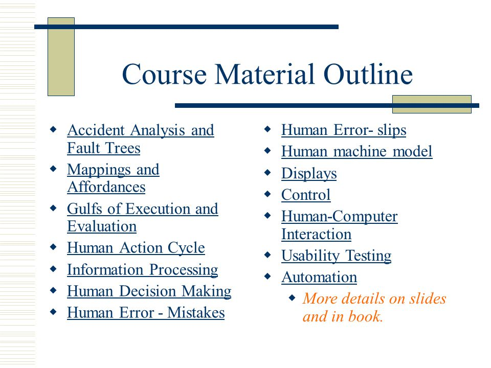 Course Material Outline