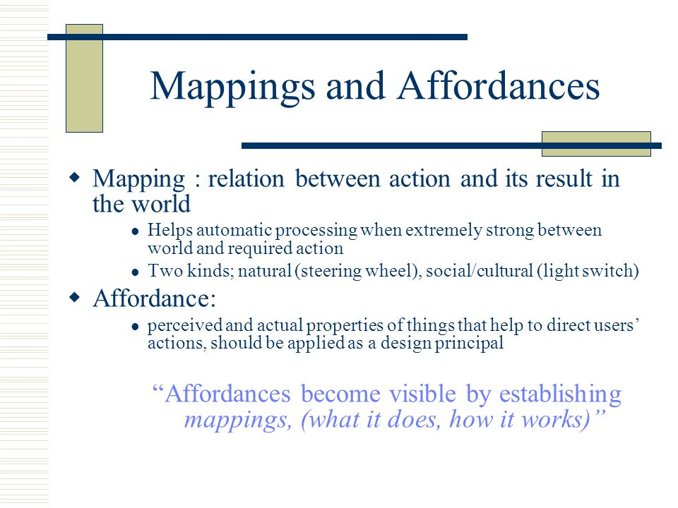 Mappings and Affordances