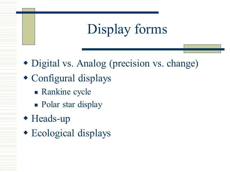 Display forms Digital vs. Analog (precision vs. change)