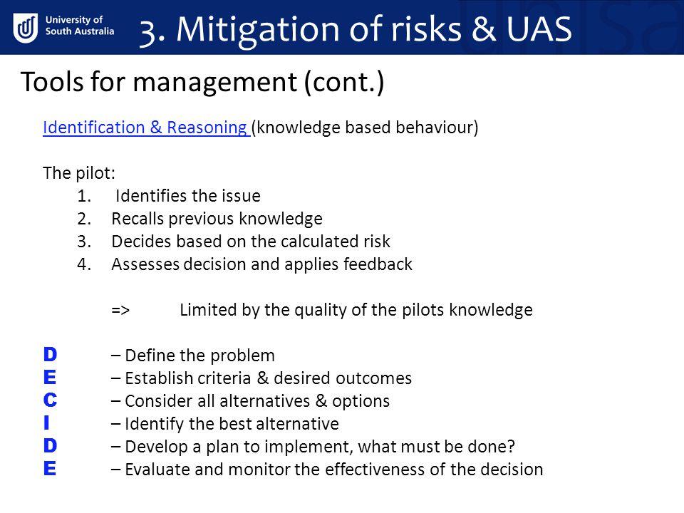 3. Mitigation of risks & UAS