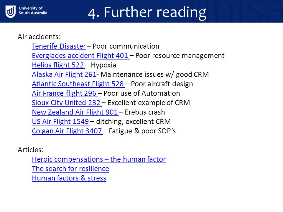 4. Further reading Air accidents: