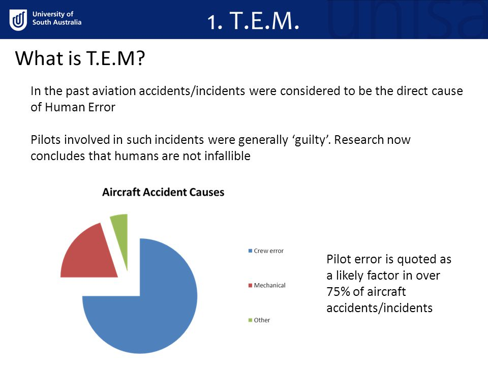 1. T.E.M. What is T.E.M In the past aviation accidents/incidents were considered to be the direct cause of Human Error.