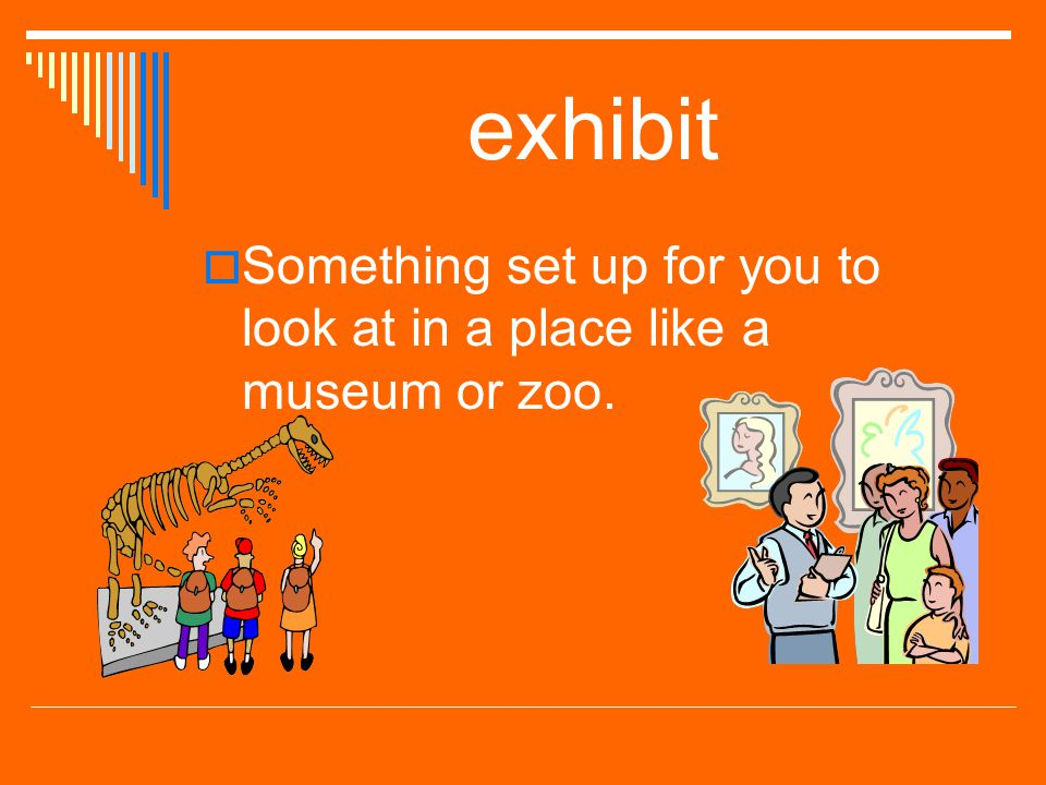 exhibit Something set up for you to look at in a place like a museum or zoo.