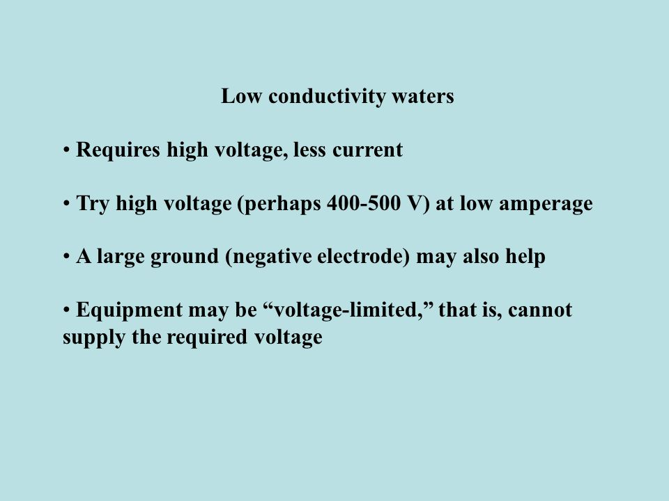 Low conductivity waters