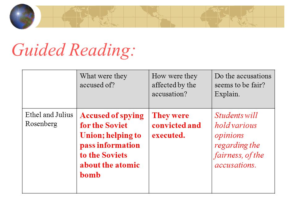 Guided Reading: What were they accused of How were they affected by the accusation Do the accusations seems to be fair Explain.