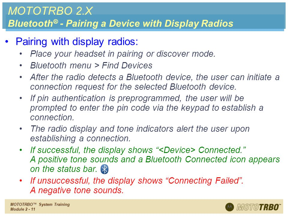 MOTOTRBO 2.X Pairing with display radios: