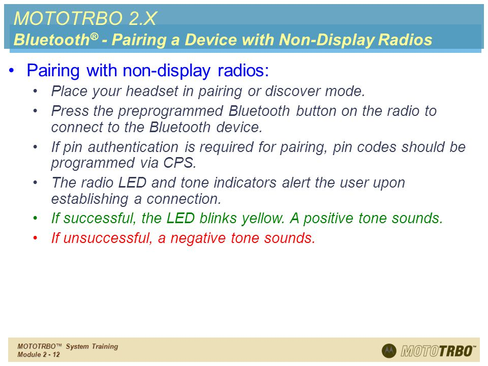 MOTOTRBO 2.X Pairing with non-display radios: