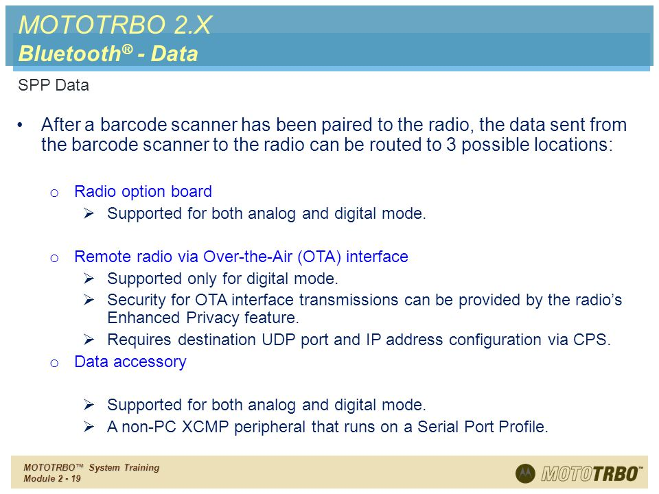 MOTOTRBO 2.X Bluetooth® - Data