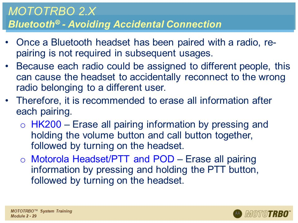 MOTOTRBO 2.X Bluetooth® - Avoiding Accidental Connection
