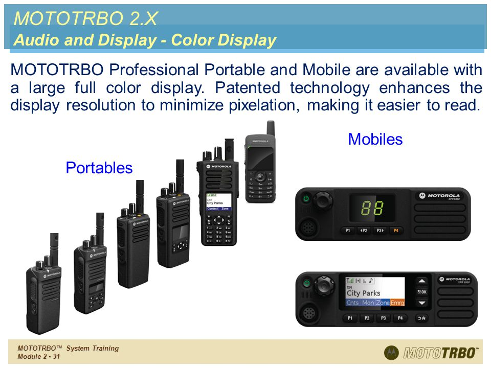 MOTOTRBO 2.X Audio and Display - Color Display