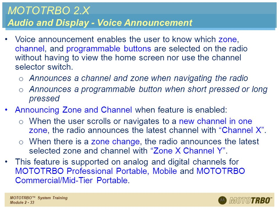 MOTOTRBO 2.X Audio and Display - Voice Announcement