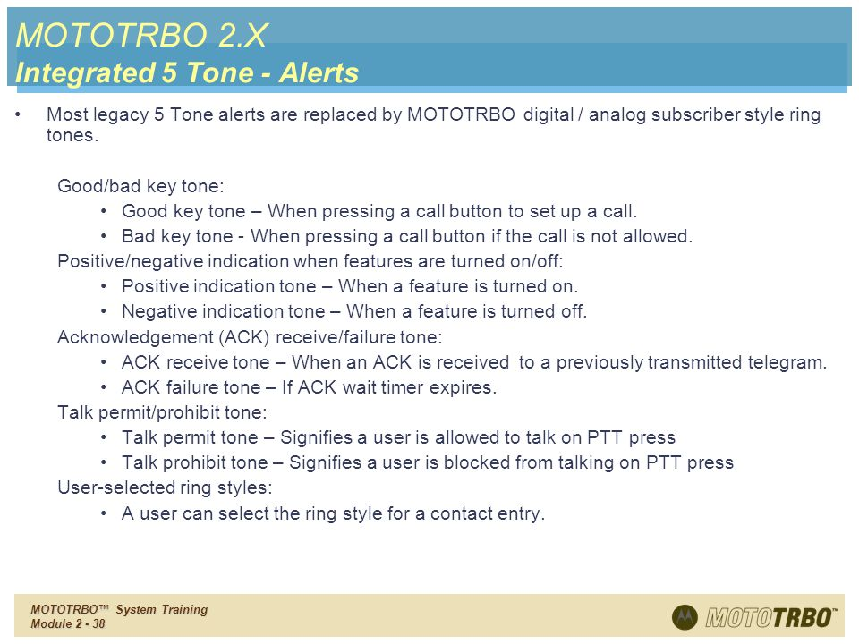 MOTOTRBO 2.X Integrated 5 Tone - Alerts