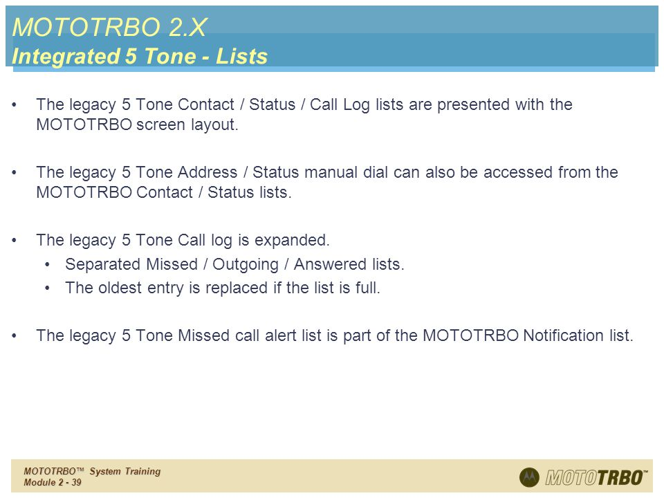 MOTOTRBO 2.X Integrated 5 Tone - Lists