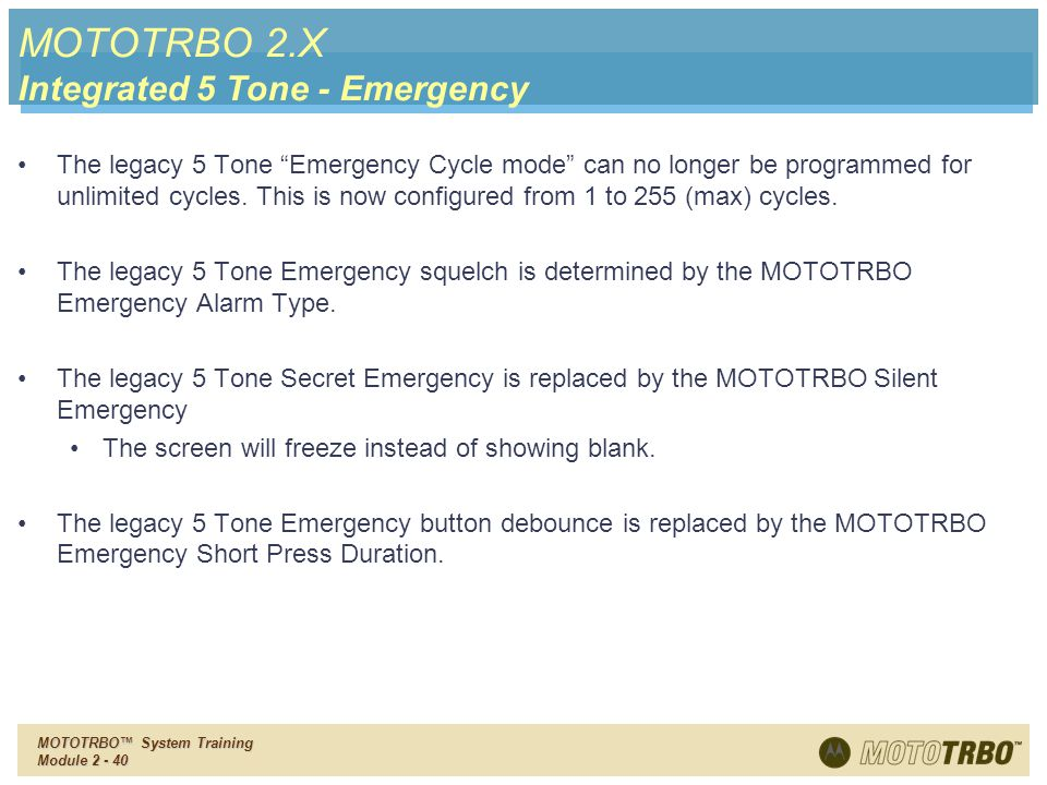 MOTOTRBO 2.X Integrated 5 Tone - Emergency