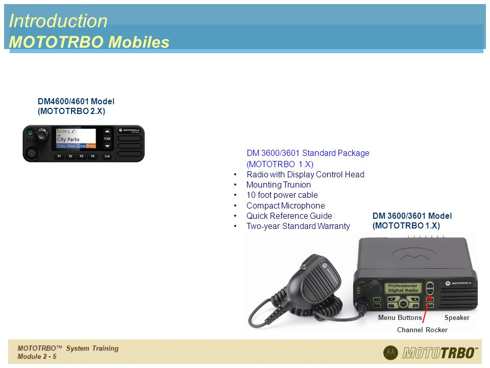 Introduction MOTOTRBO Mobiles