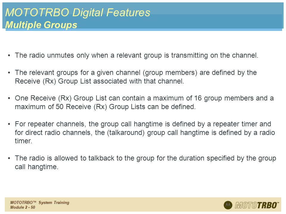 MOTOTRBO Digital Features Multiple Groups