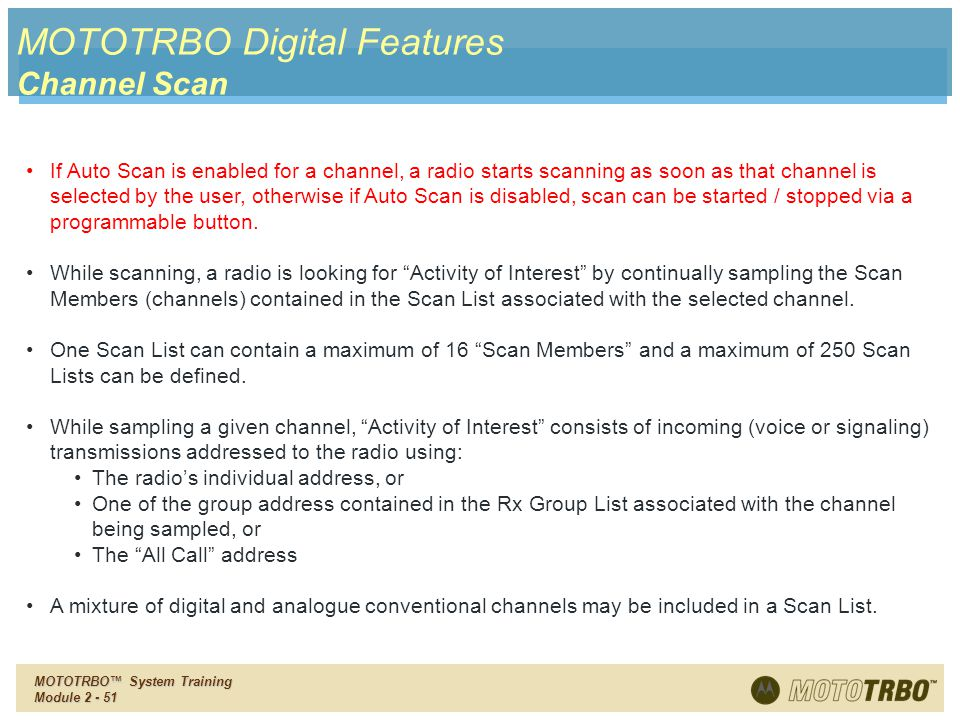 MOTOTRBO Digital Features Channel Scan