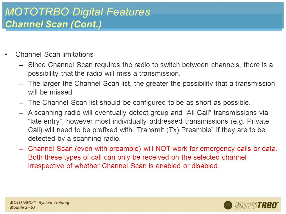MOTOTRBO Digital Features Channel Scan (Cont.)